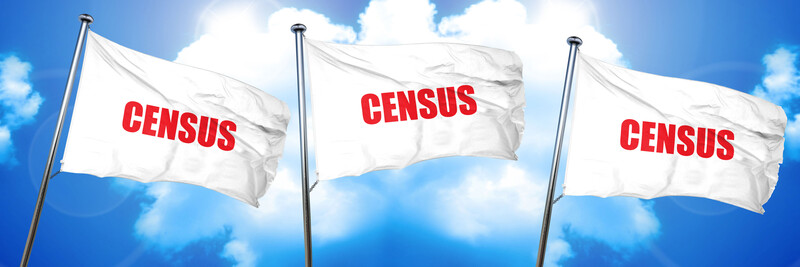 "Three with flags, each showing the word ""Census"" in red letters, across a blue sky with clouds"