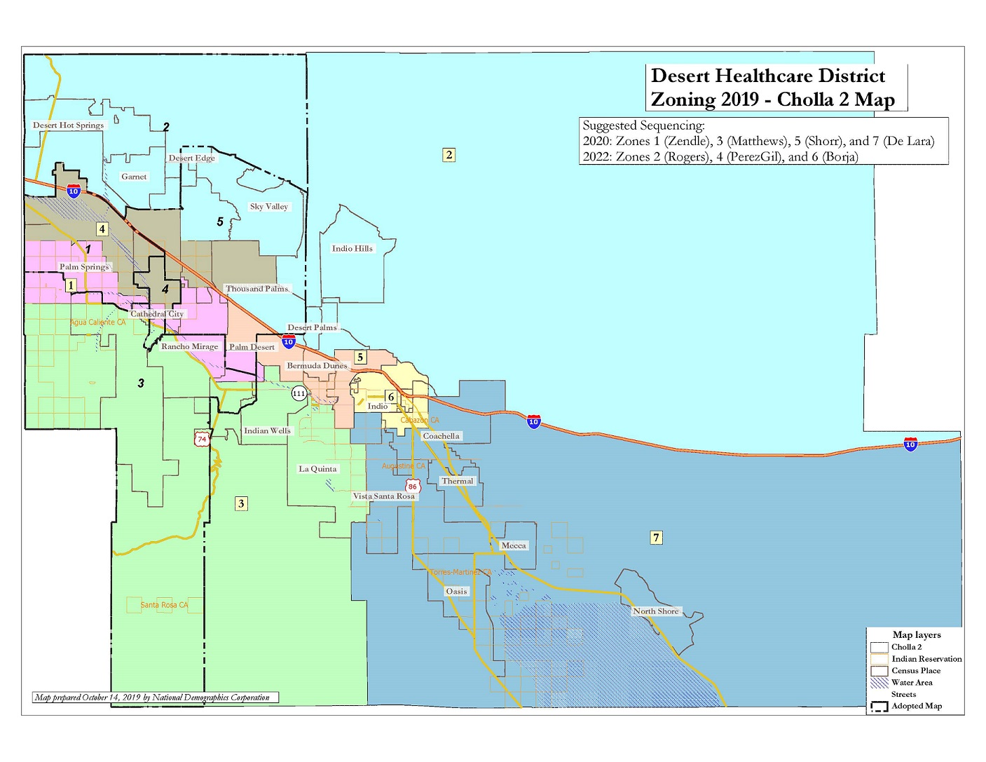 Map showing 7 DHCD zones the Board adopted in 2019