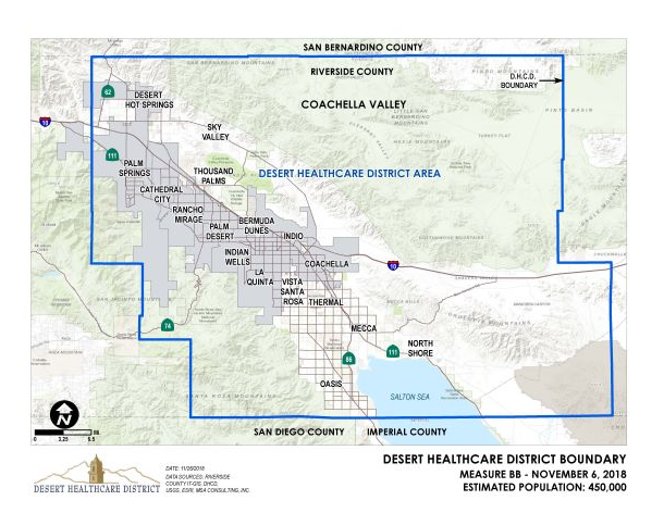 Map showing Boundaries of the Desert Health Care District